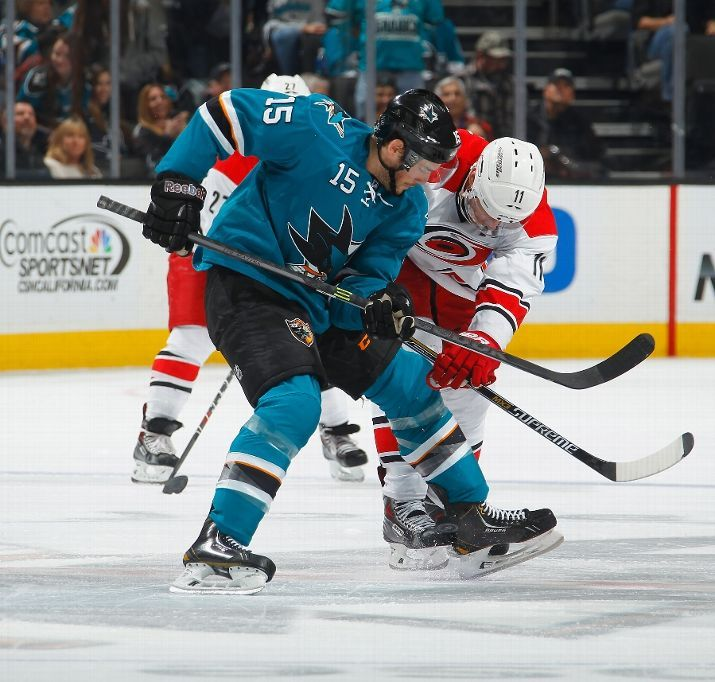 San Jose Sharks forward James Sheppard battles Carolina Hurricanes forward Jordan Staal on a faceoff (Feb. 7, 2015).