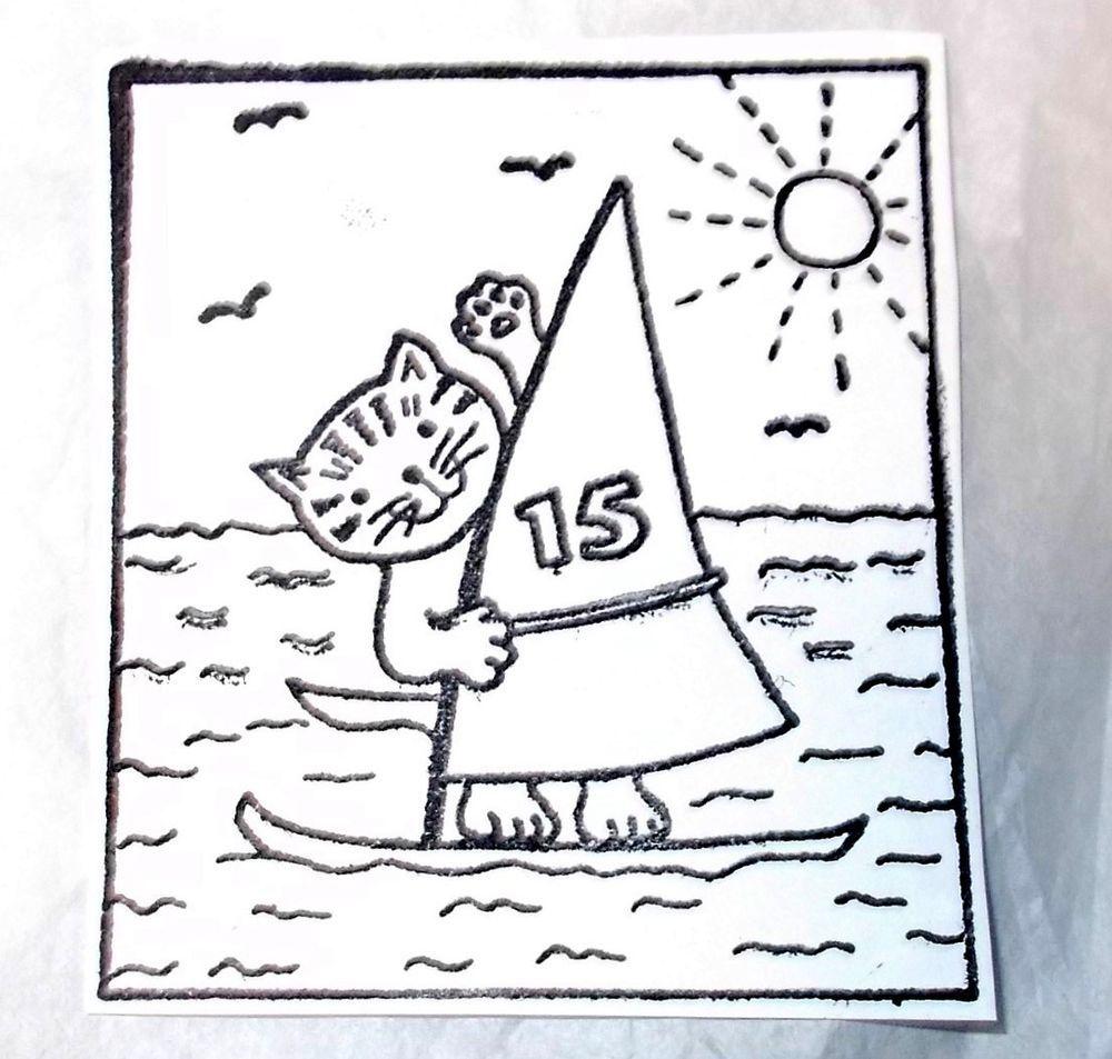 Sailing cat rubber stamp sun birds water waves ocean beach summer