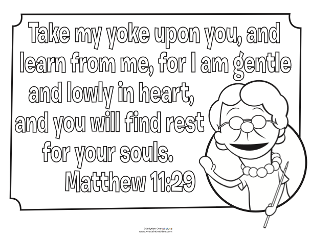 whatsinthebible coloring pages - matthew 11 29 bible coloring pages bible sunday