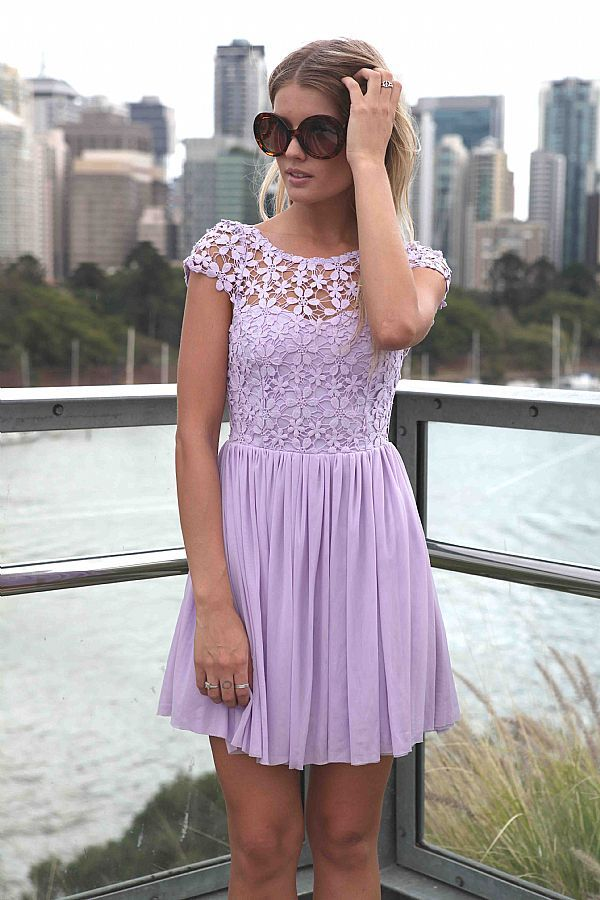 Purple Embroidered Lace Top Dress with Tulle Pleated Skirt | Otros ...