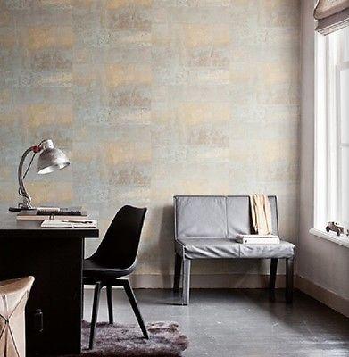 Vlies Tapete 47213 Stein Muster mauer Bruchstein Gold grau Eye BN - wohnzimmer grau gold