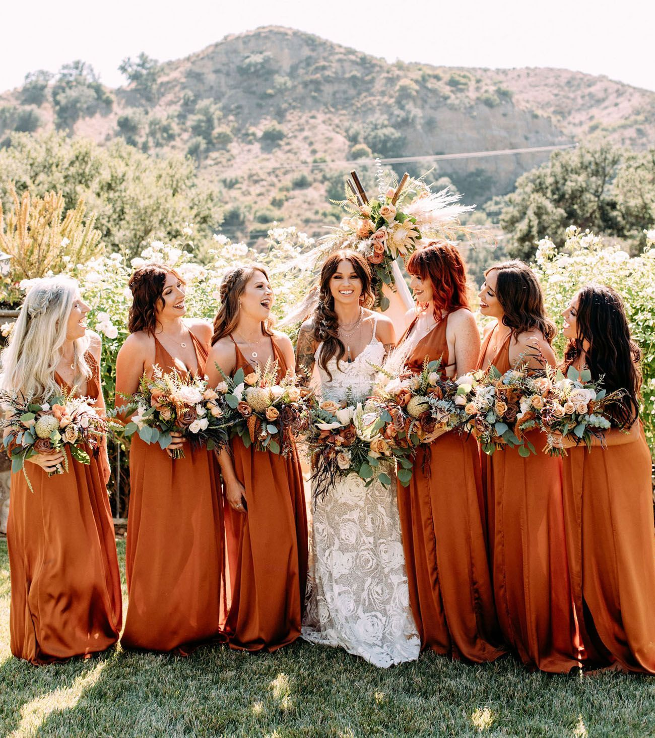 An Autumnal Boho Wedding With Rust Bridesmaids Dresses Spicy Fall Florals And Copper Orange Bridesmaid Dresses Fall Bridesmaid Dresses Rust Bridesmaid Dress