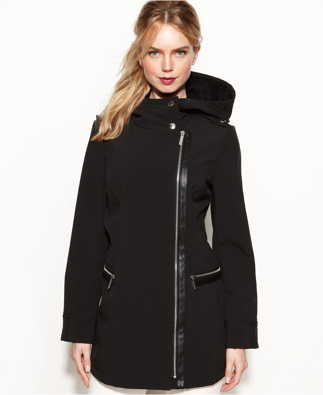 Michael Michael Kors Coat Hooded Faux Leather Trim Soft Shell Coats Women Macy S Hooded Faux Coats For Women Outerwear Women [ 1616 x 1320 Pixel ]