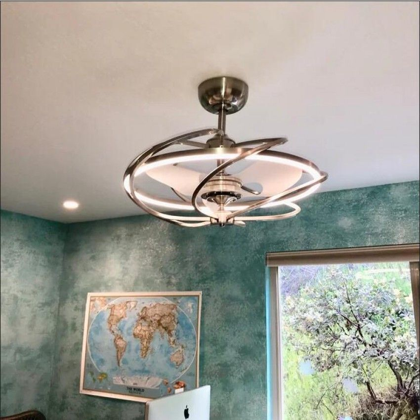 27 Bucholz Modern Chandelier Ceiling Fan With Remote Control Led Light 3 Reversible Blad Bladeless Ceiling Fan Ceiling Fan With Light Ceiling Fan Chandelier