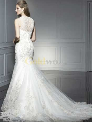 $244 A-line High Neck Lace Embroidery Satin Wedding Gown