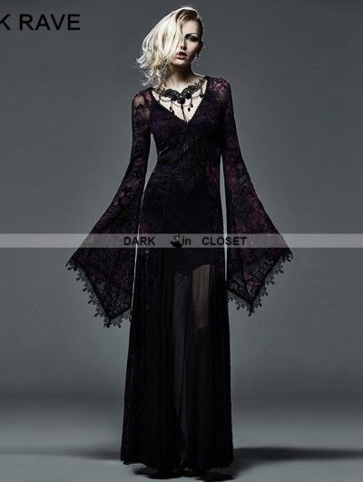 292c0397896 Punk Rave Dark Violet Sexy Gothic Long Vampire Dress More