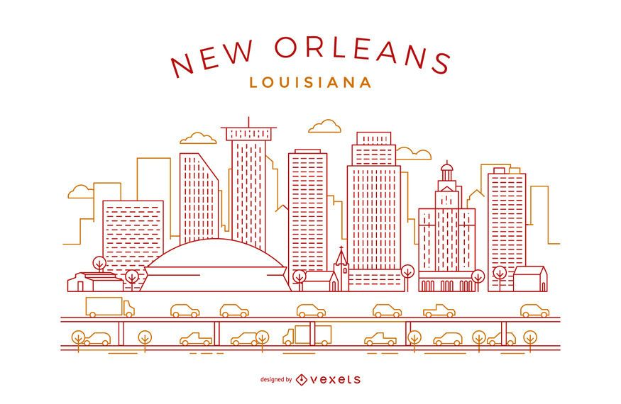Stroke And Thin Line Minimalist New Orleans Skyline Vector With Major Landmarks And Emblematic Buildings Modern Style New Orleans New Orleans Skyline Skyline