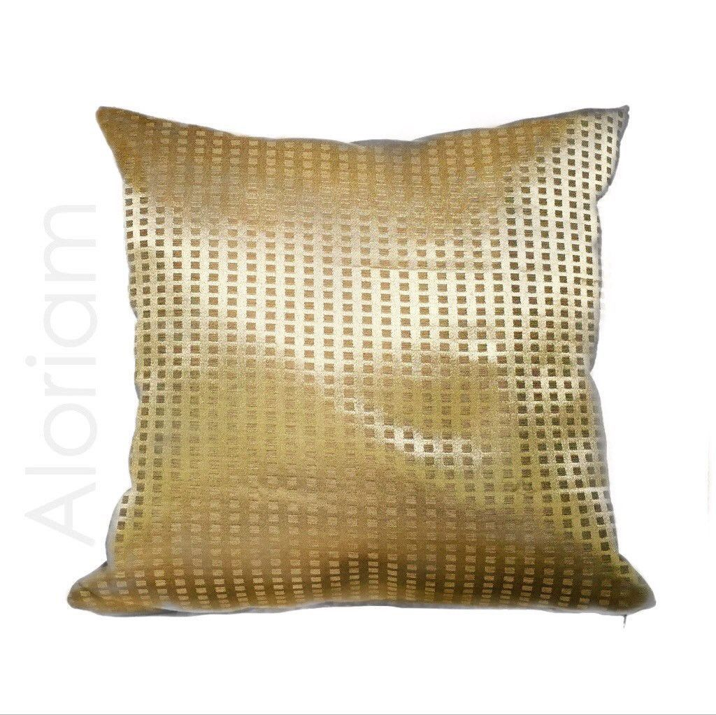 Metallic Gold Geometric Small Squares Decorative Throw Pillow
