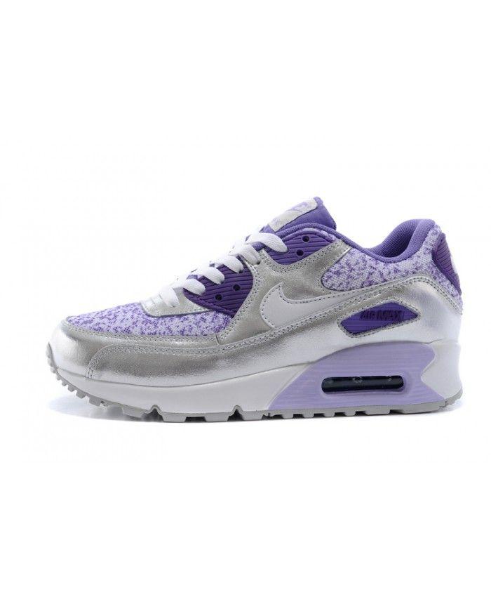 Femme Nike Air Max 90 Argent Argent 90 Violet Chaussures nike air max 90 a9b38e