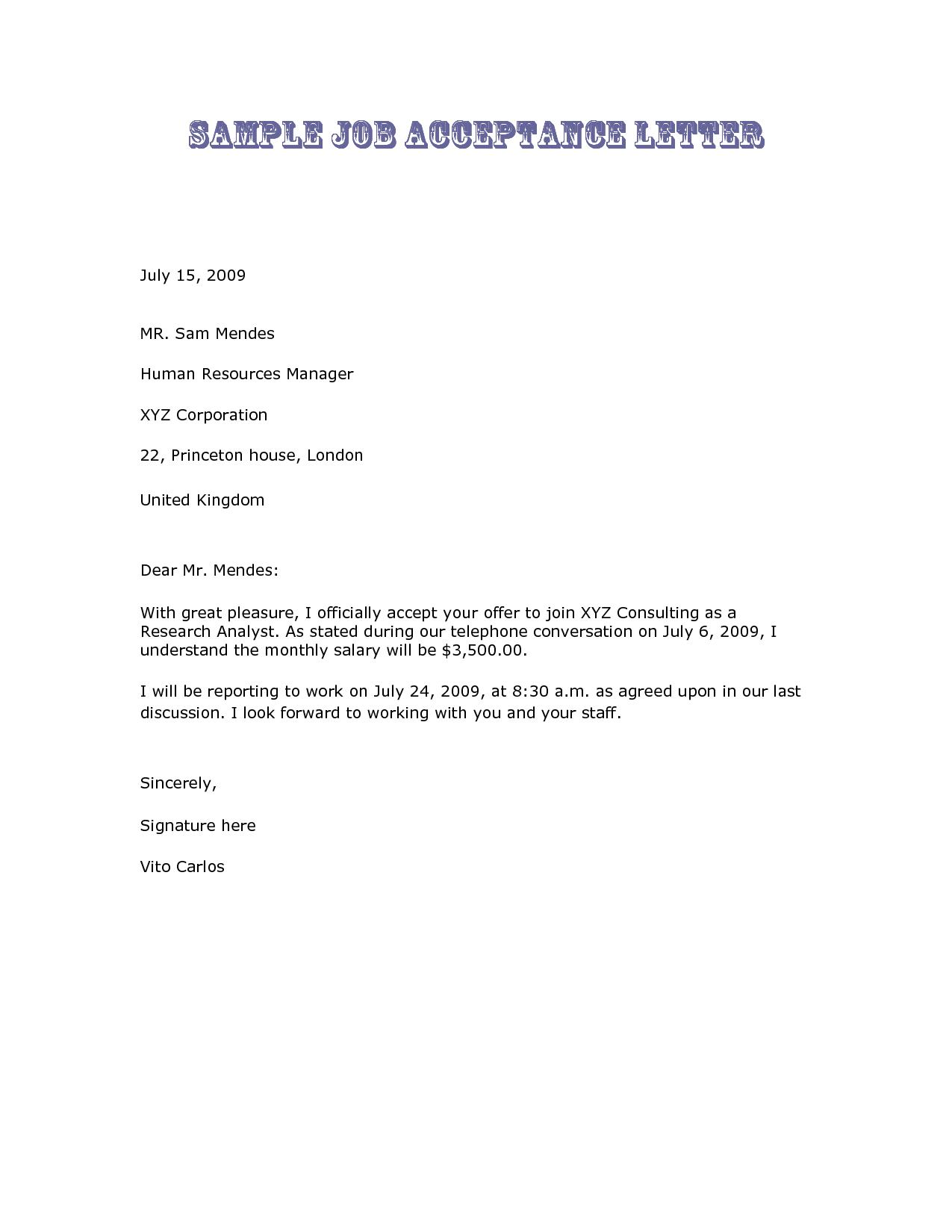 New Job Acceptance Letter Template Acceptance letter