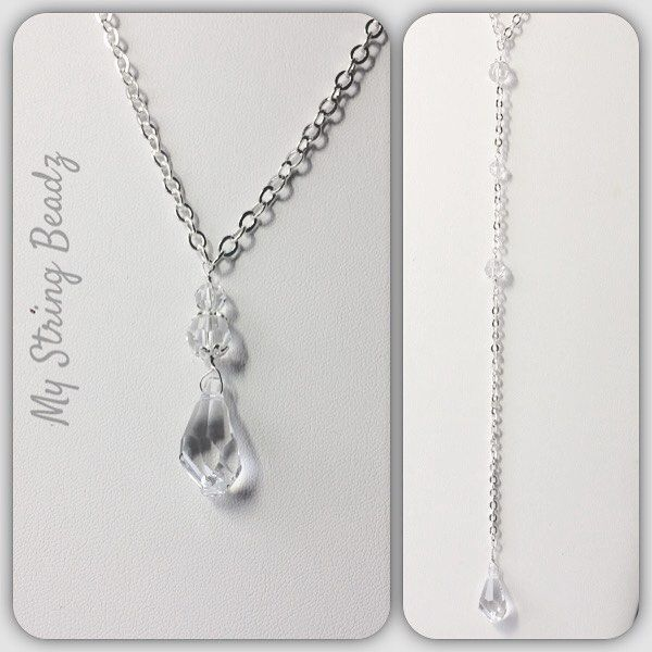 """Are you a bride who will be wearing a very low or backless dress?  This gorgeous Swarovski crystal """"back"""" necklace would add some lovely bling down your back.  Photo on left shows front of necklace...photo on right the daring back! Customer design with me on a change in design crystals and/or chain.  Or add some pearls..or another element that is special to YOU!  Just lovely!! #elegantback #fromtheheart #mystringbeadz"""