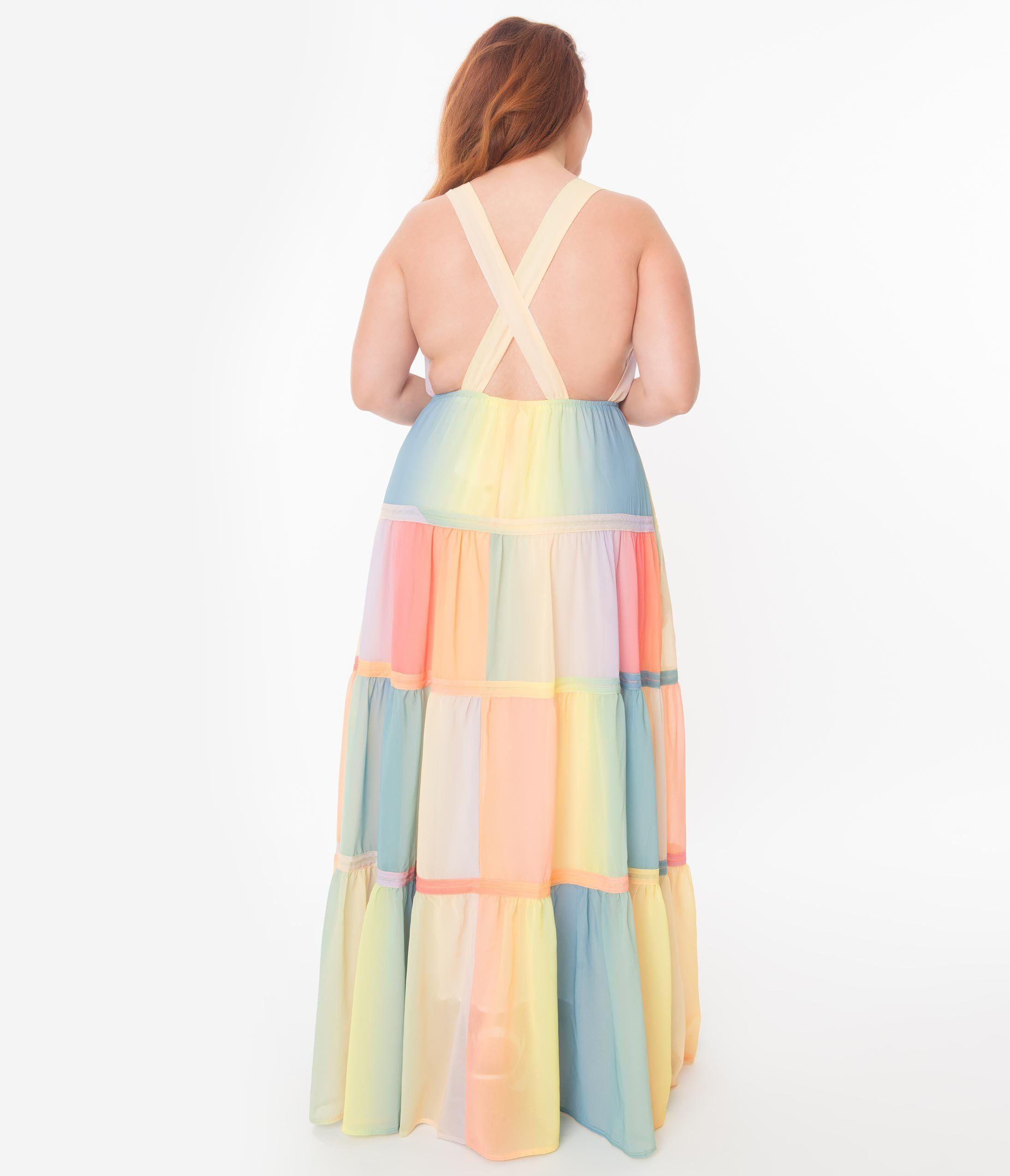 Pastel Ombre Rainbow Tiered Maxi Dress Unique Vintage Tiered Maxi Dress Maxi Dress Plus Size Maxi Dresses [ 2550 x 2190 Pixel ]