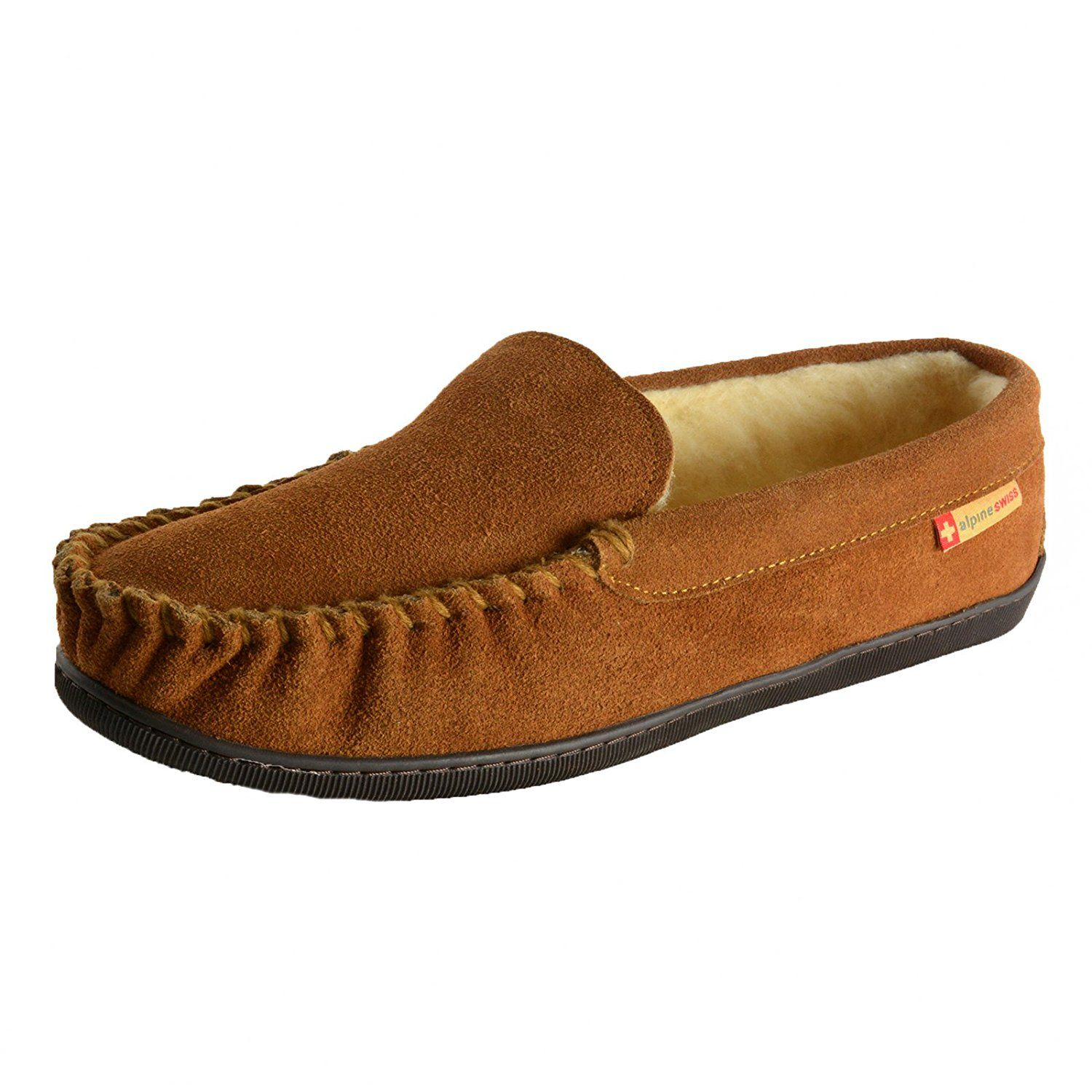 5e43dd7be Amazon.com | Alpine Swiss Sabine Womens Suede Shearling Slip On Moccasin  Slippers | Slippers