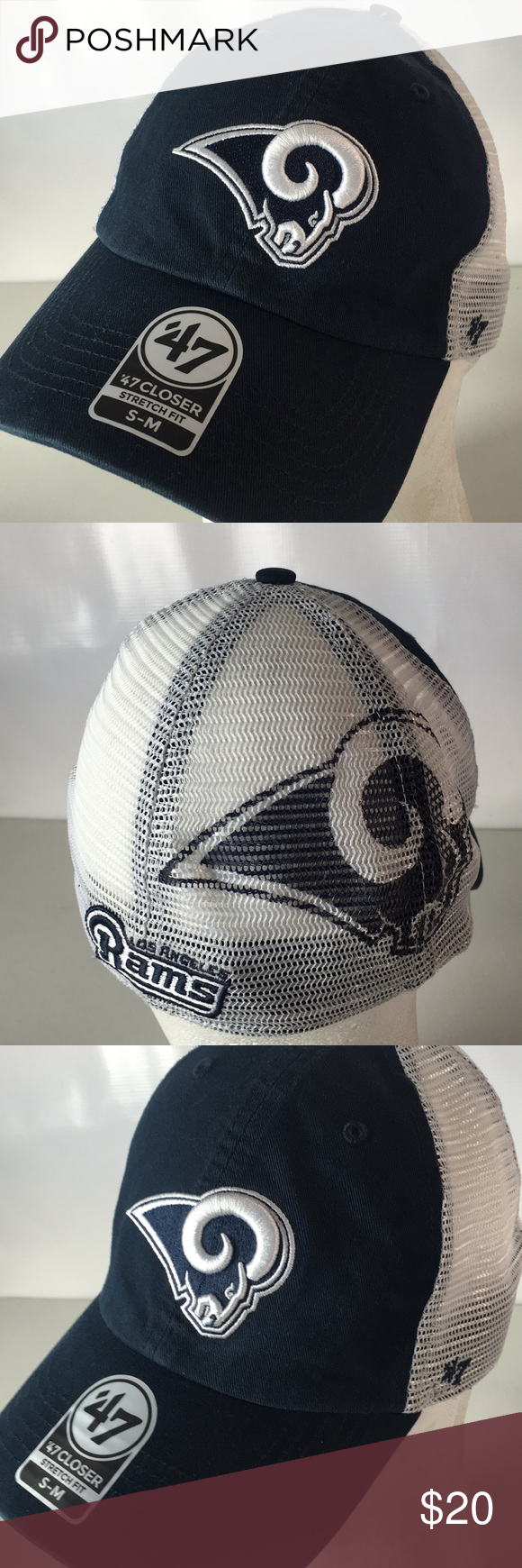 Los Angeles Rams Hat Mesh Big Logo Spellout Sz S/M