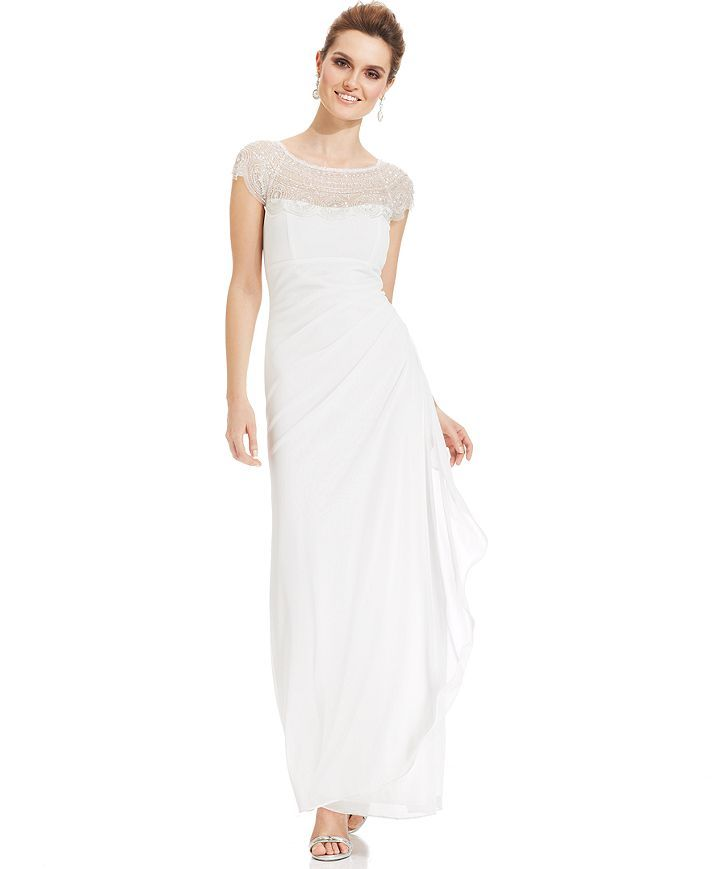 Xscape Cap-Sleeve Illusion Beaded Gown - Wedding Day - Women ...