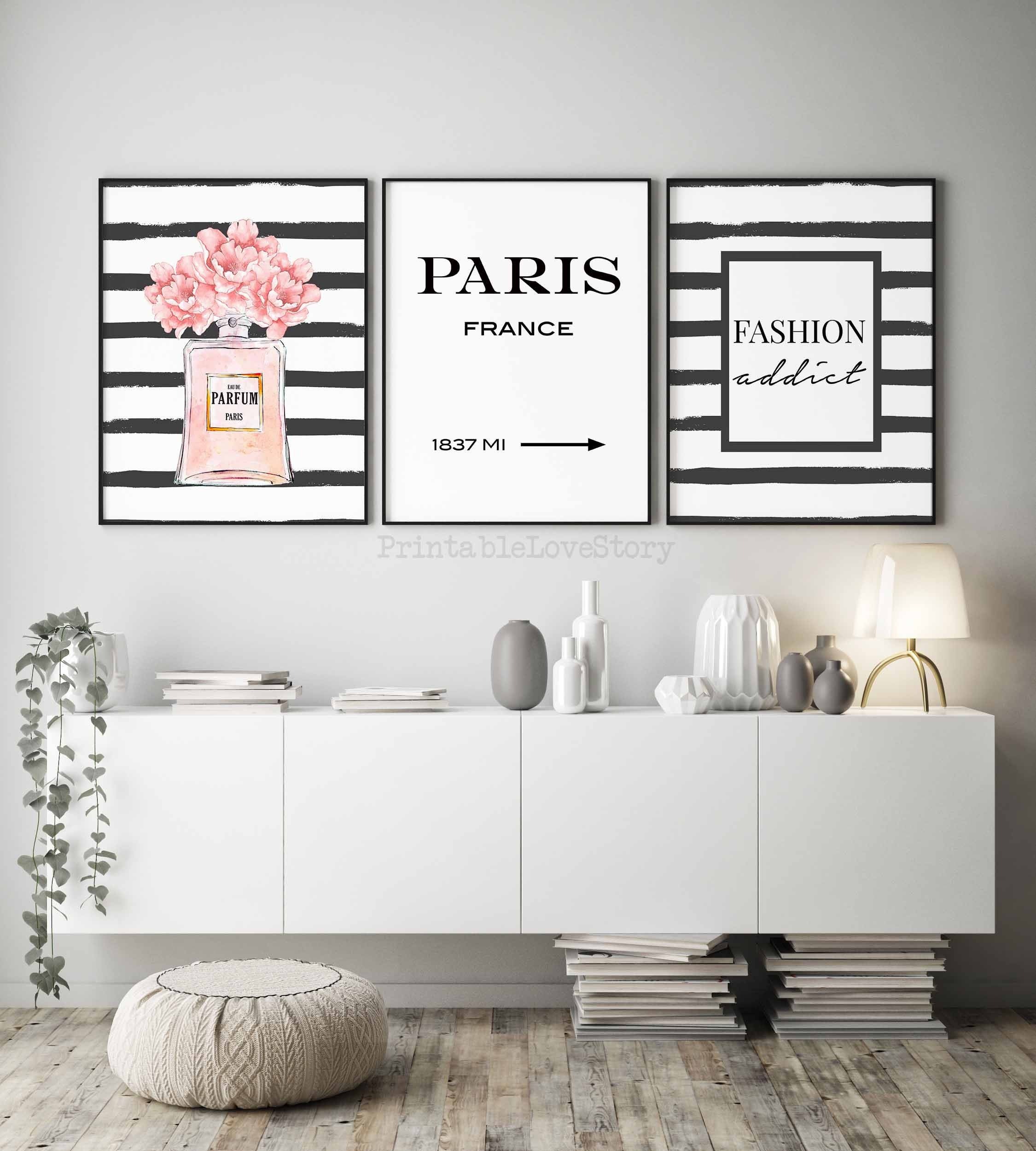 Fashion Wall Artfashion Printsbedroom Womenfashion Black Etsy Fashion Wall Art Canvases Fashion Wall Art Paris Room Decor