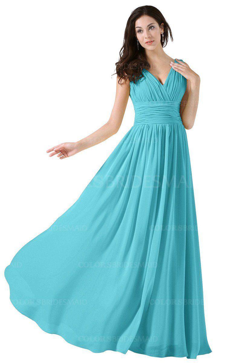 ce105c6ff4d Turquoise Elegant V-neck Sleeveless Zip up Floor Length Ruching Bridesmaid  Dresses
