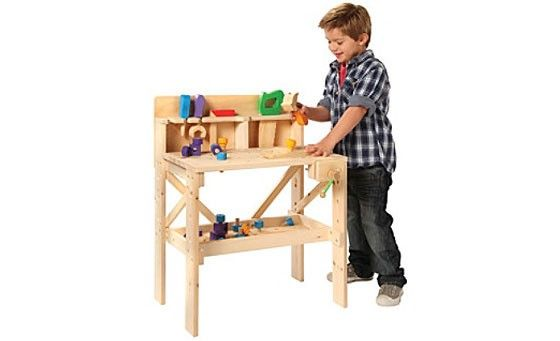 Allow your kids to learn through play with the 38-piece Treehause Wood Work Bench