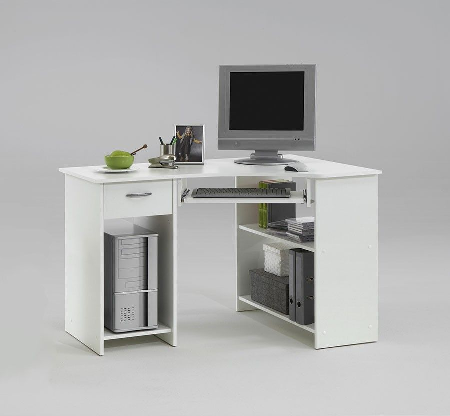 Bureau d 39 angle informatique blanc avec caisson en option for Bureau en angle