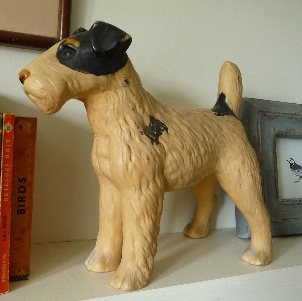 Vintage original hubley fox terrier 381 full figured large art statue - Vintage Ceramic Fox Terrier Old Pot Dog Model Of Dog Fox Terrier Figure
