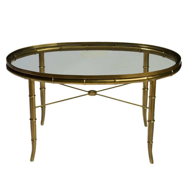 Mastercraft Oval Faux Bamboo Brass Glass Coffee Table