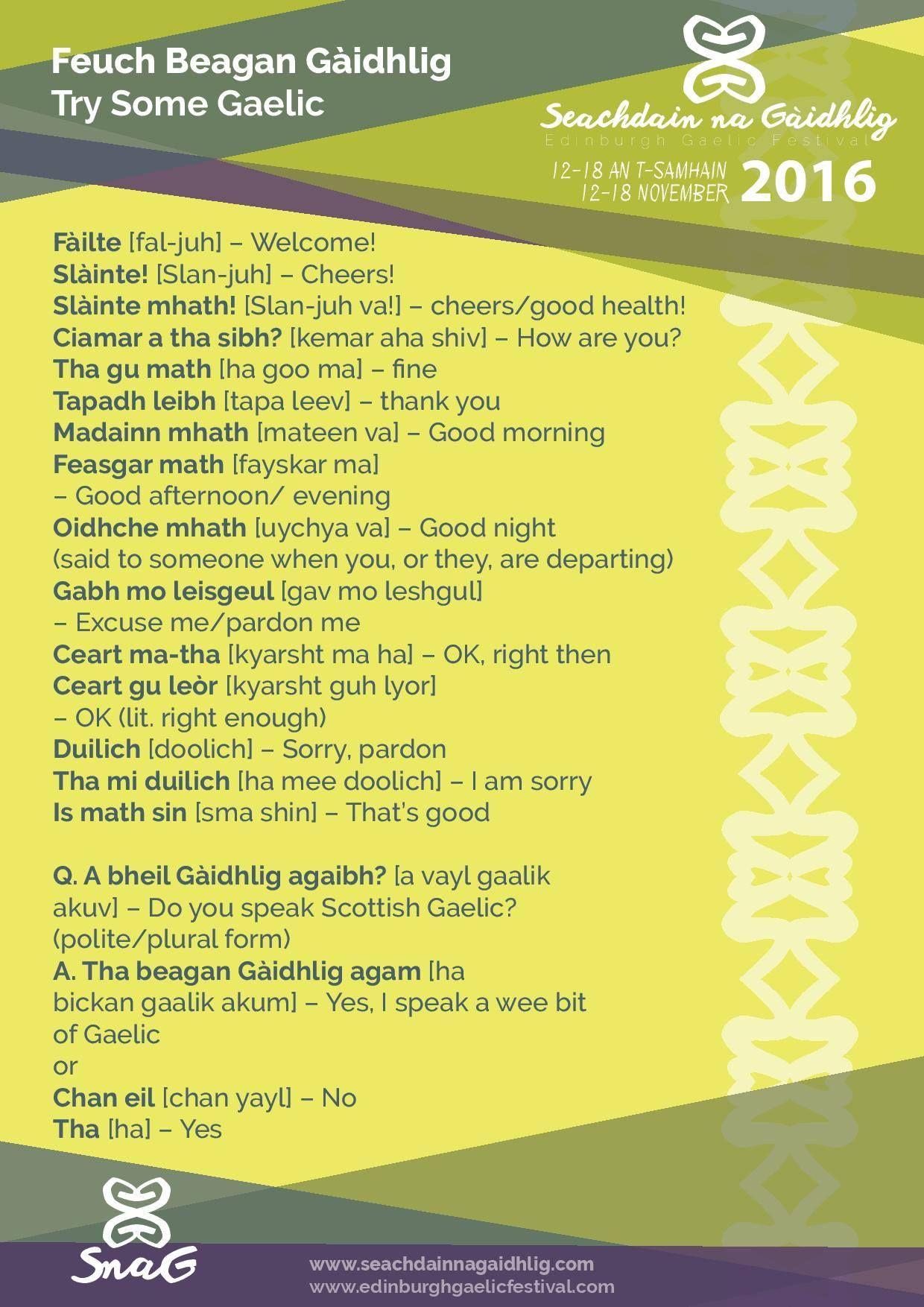 Sgribhisg Feuch Beagan Gaidhlig Try Some Gaelic Scottish Gaelic Gaelic Scottish Gaelic Phrases