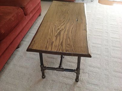 Oak Slab Coffee Table On Black Iron Pipe Legs On Etsy, $225.00