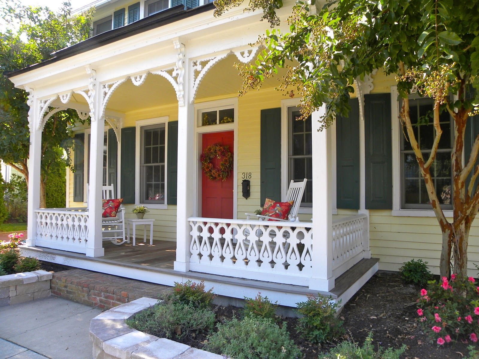 Pin By Sheila Holland On Stuff At Home Red Door House Green Shutters White Exterior Houses
