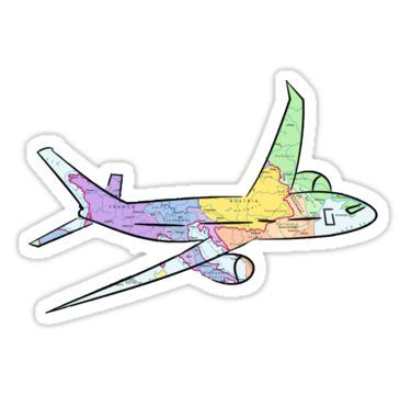 Airplane Map Sticker By Kateweav Pegatinas Bonitas Pegatinas Y