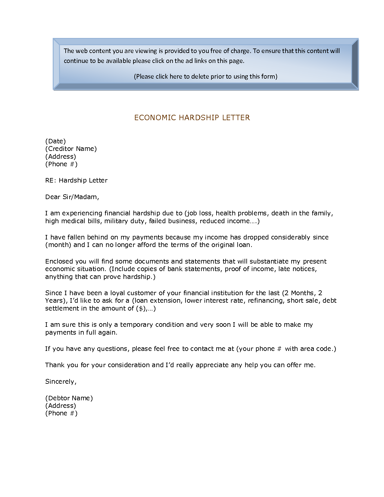 Economic Hardship Sample Letter | Economic Hardship Letter | 0775 ...