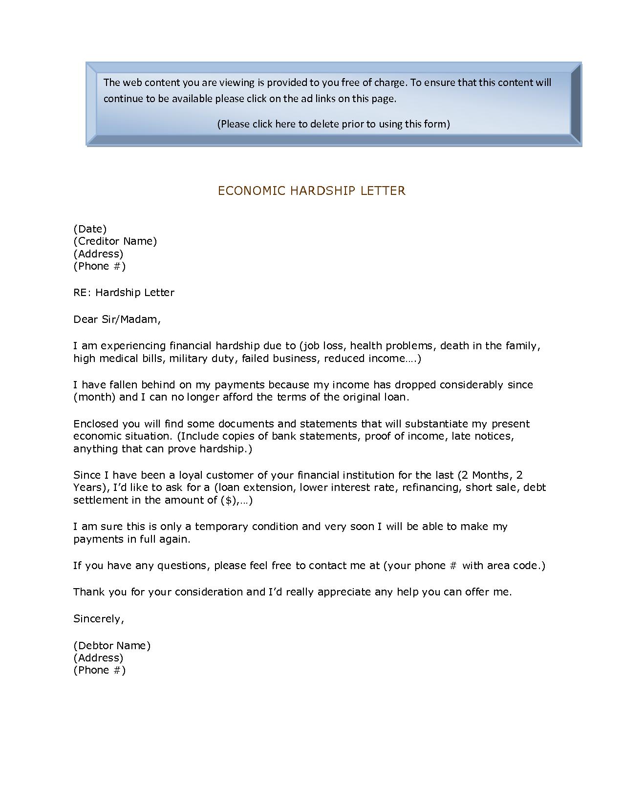 Economic Hardship Sample Letter