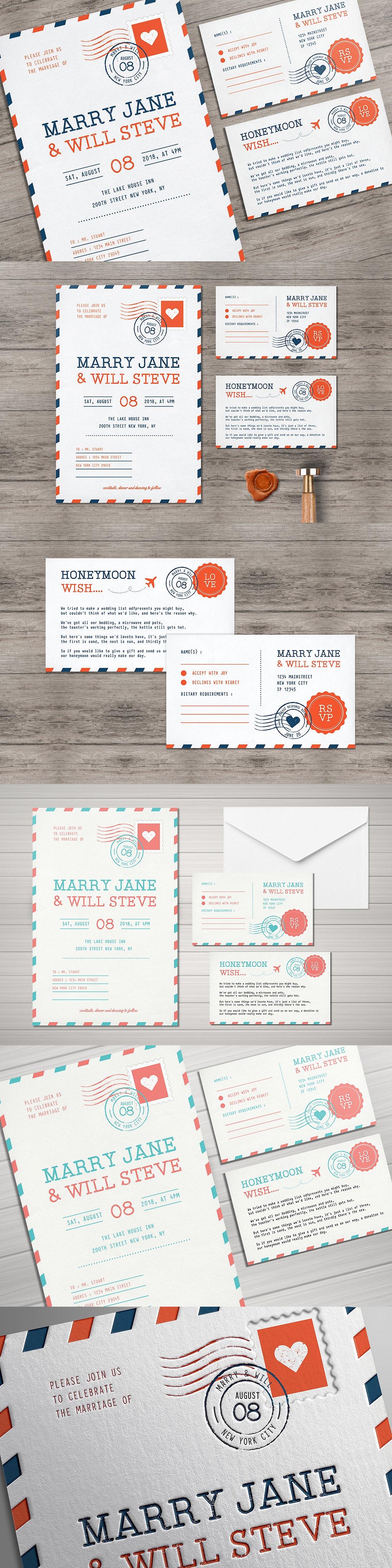 Airmail Wedding Invitation Template PSD