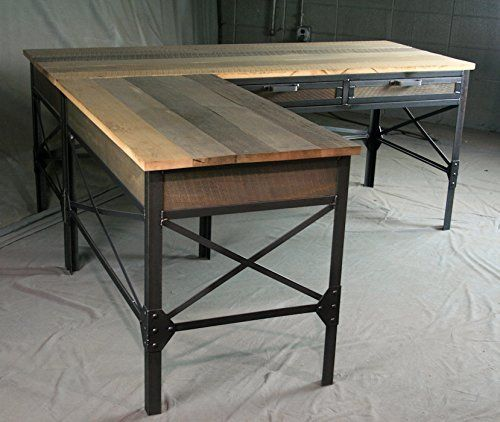 french industrial l shaped desk with drawers modern table with cross braces vintage steel and. Black Bedroom Furniture Sets. Home Design Ideas
