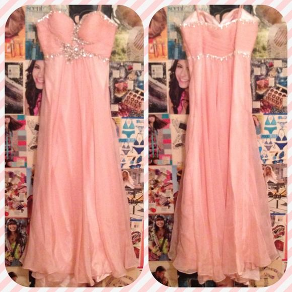 Pink Jeweled Floor Length Prom Dress | Pale pink, Bodice and Prom
