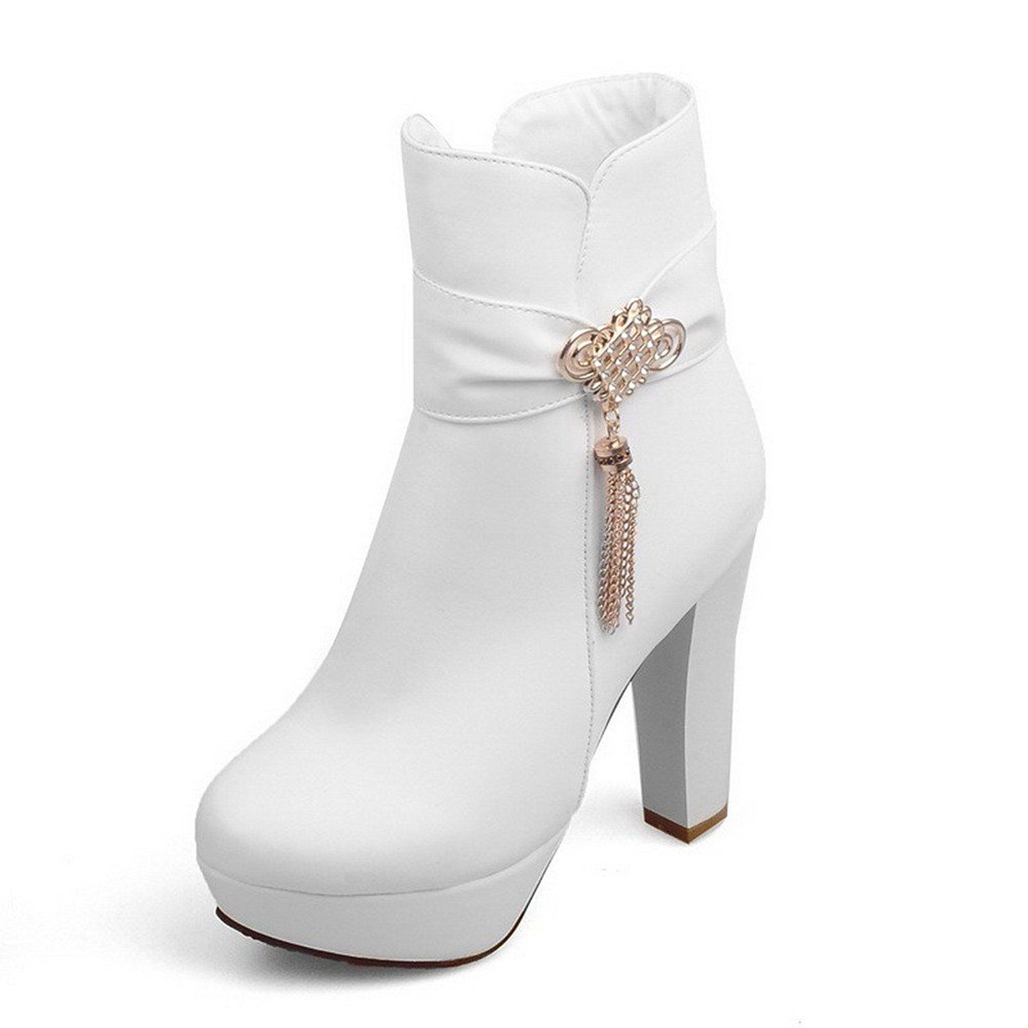 Women's Low-Top Solid Chains Closed Round Toe High-Heels Boots