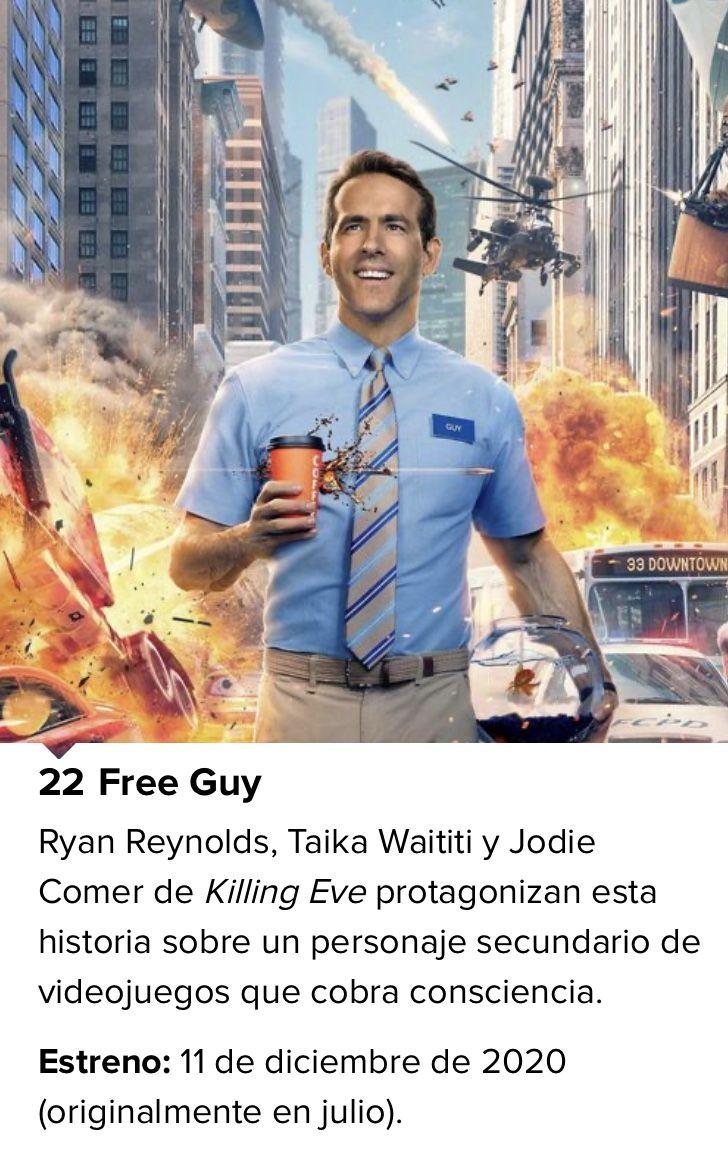Free Guy Guy Personajes Secundarios Ryan Reynolds