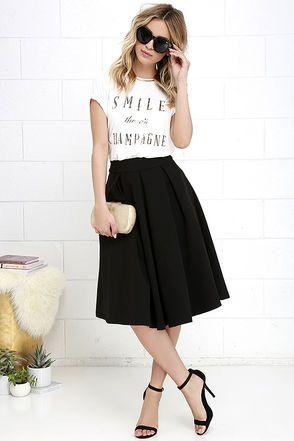 Pleats, Oh Please Black Midi Skirt at Lulus.com!
