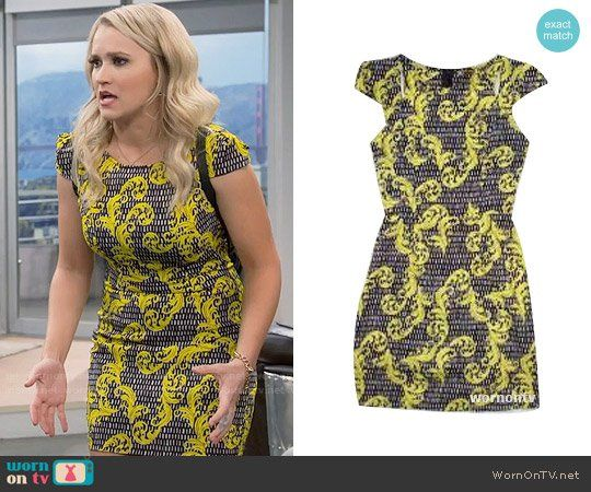 20de4916149 Gabi s black and yellow flourish print dress on Young and Hungry. Outfit  Details  https