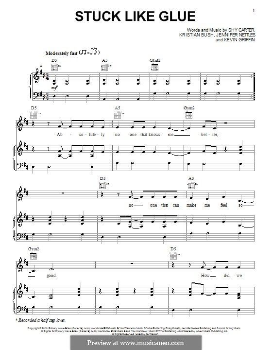 Stuck Like Glue Sugarland For Voice And Piano Or Guitar By