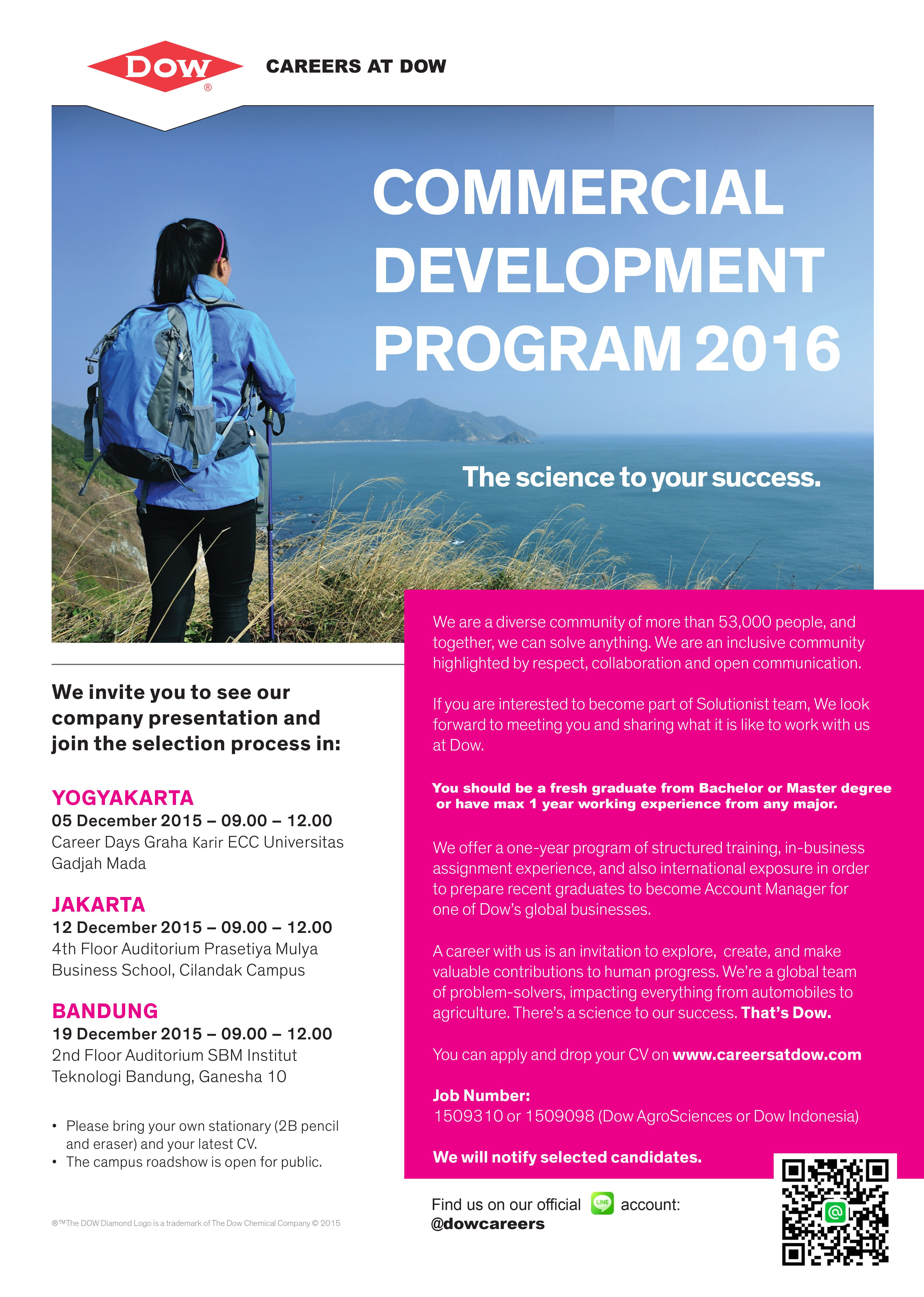 DIBUKA! 2 Career Development Program (CDP) dari Dow Indonesia >> http://bit.ly/20W0SVQ DEADLINE: 19 Desember 2015 #itbcc