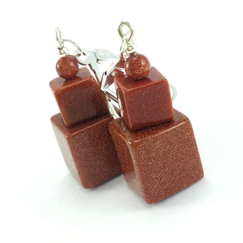 Kolczyki Wykonane Recznie Z Brazowymi Kamieniami Piasku Pustyni Z Elementami W Kolorze Srebra Bigle Typu Angielskiego Zamykane Earrings Drop Earrings Jewelry
