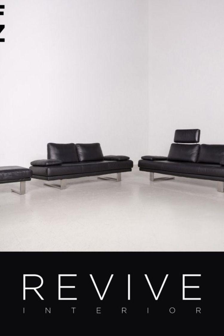 Rolf Benz 6600 Designer Leder Sofa Garnitur Schwarz Dreisitzer