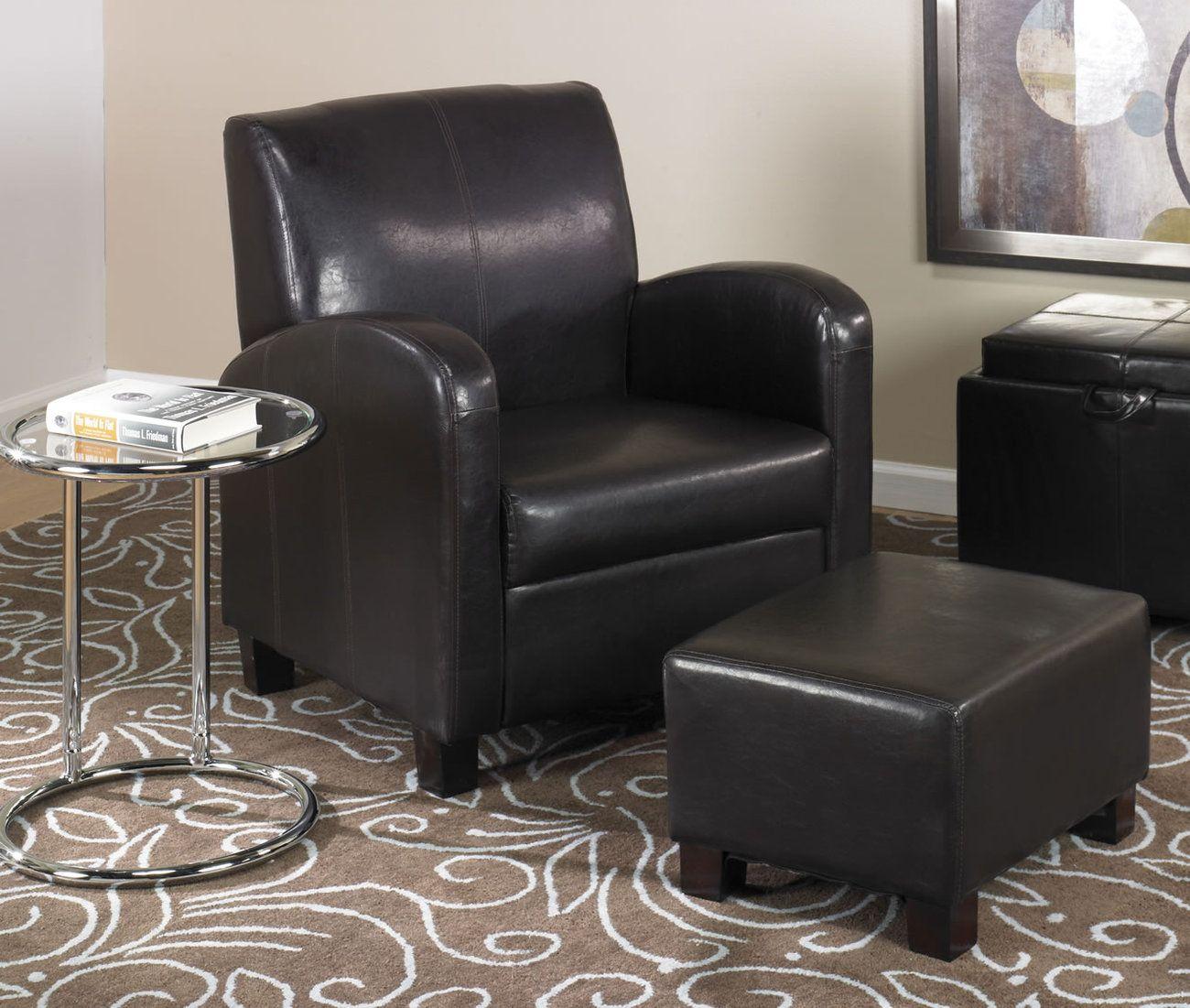Dark espresso brown faux leather lounge club chair