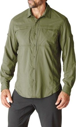 c76acd7f The men's REI Sahara Tech Long-Sleeve Shirt provides comfort, ventilation  and adjustable coverage for hiking in warm climates.