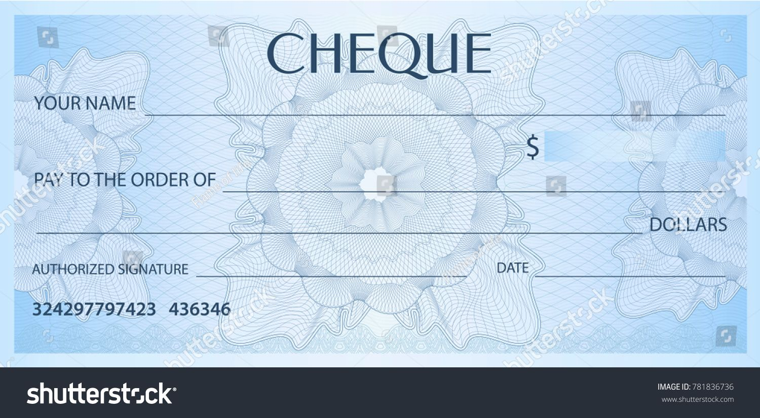 Check Cheque Chequebook Template Guilloche Pattern With