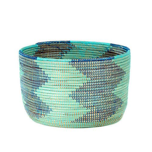 Woven Storage Basket   Aqua U0026 Blue Chevron