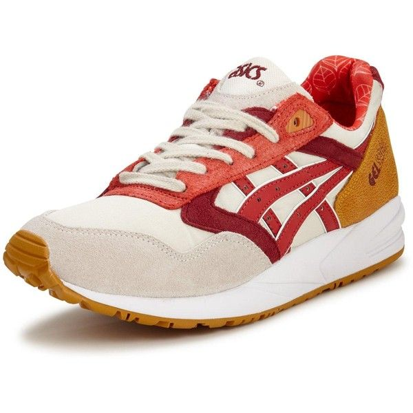 Asics Gel Saga Trainers (€51) ❤ liked on Polyvore featuring shoes, sneakers, leather shoes, strappy shoes, leather lined shoes, cushioned shoes and asics sneakers