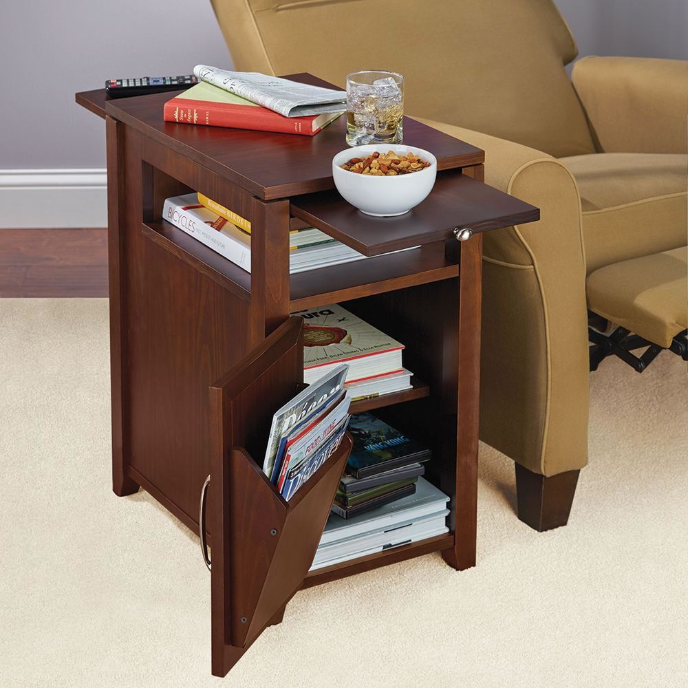 The Easy Access Recliner Side Table Hammacher Schlemmer Recliner Table Sofa Side Table Side Table Design