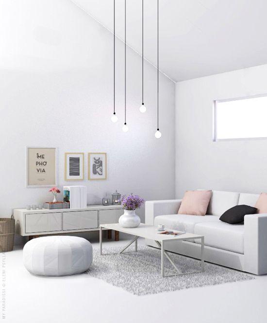 Scandinavian Living Room Design Ideas Inspiration: White Living Room Visualization