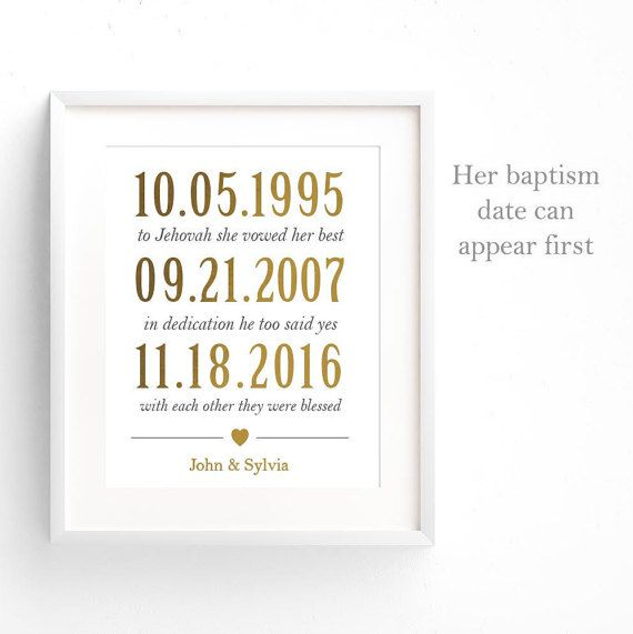 Baptism and Wedding Date Gift Print - JW Gift - Important Dates Gift ...